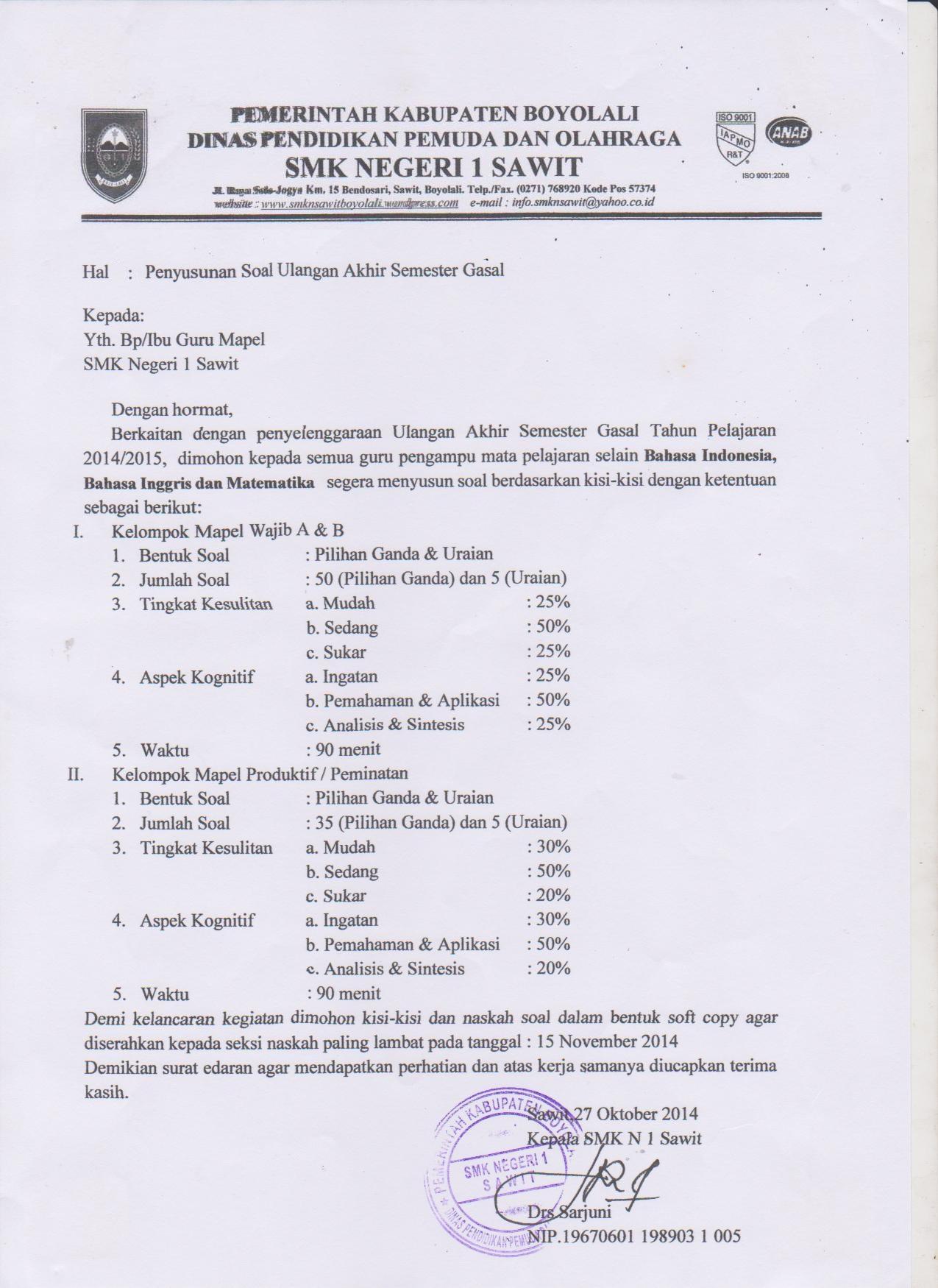 Edaran Pembuatan Soal Dan Kisi Kisi Soal Uas Gasal Tahun Pelajaran 2014 2015 Smk Negeri 1 Sawit
